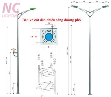 Bản vẽ cột đèn chiếu sáng đường phố