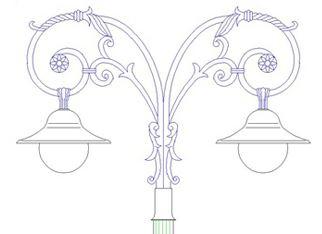 tay đèn mai chiếu thủy trang trí sân vườn