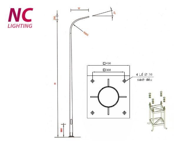 Cột đèn cao áp liền cần đơn tròn côn