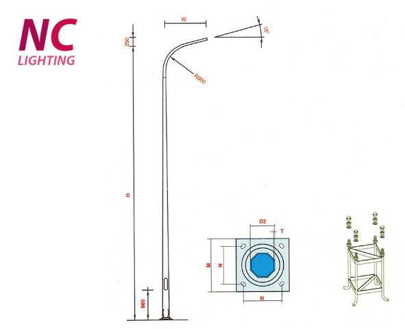 Kết quả hình ảnh cho cột đèn cao áp 9m nc lighting