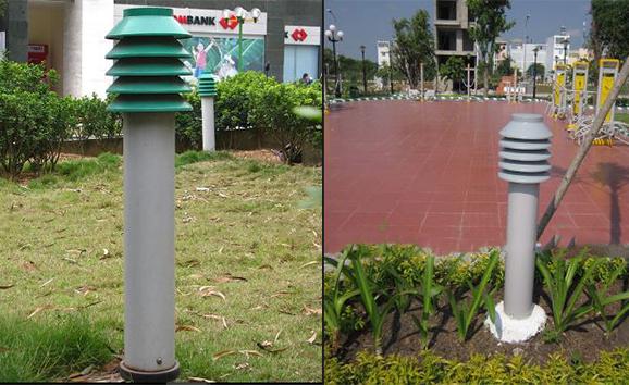 trang trí đèn sân vườn cây thông