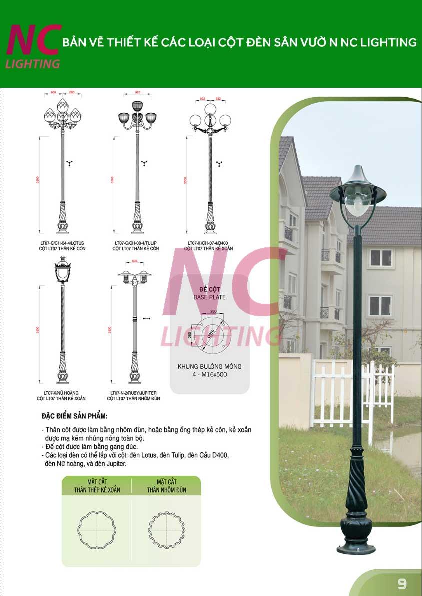 Bản vẽ thiết kế cột đèn sân vườn NC LIGHTING