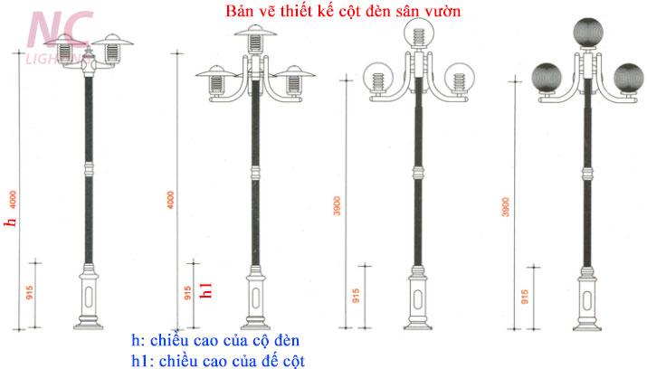 Một số mẫu bản vẽ thiết kế cột đèn sân vườn