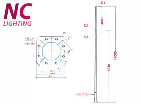 cấu tạo cột đèn cao áp bát giác