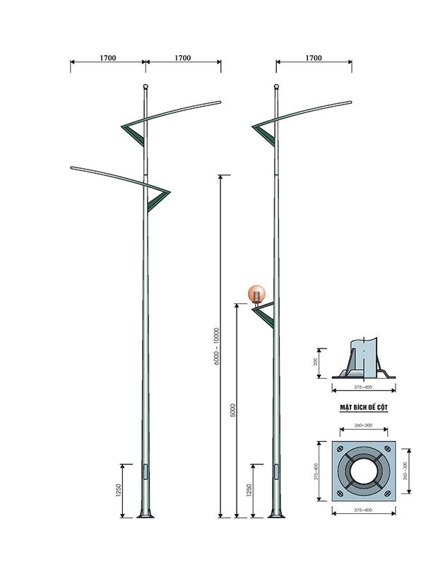Cột đèn cao áp chiếu sáng mạ kẽm