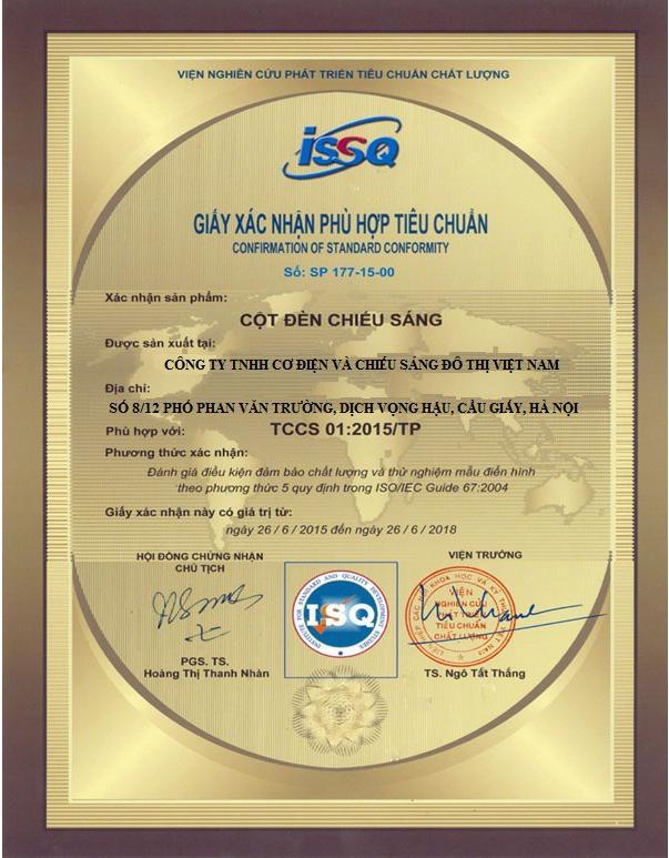 Chung nhan chat luong ISO 9001-2000 cot den chieu sang