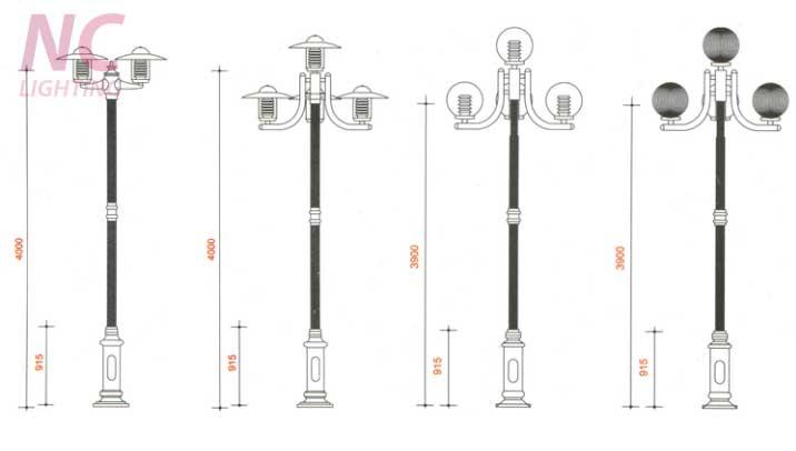 Bản thiết kế cột đèn sân vườn NOUVO