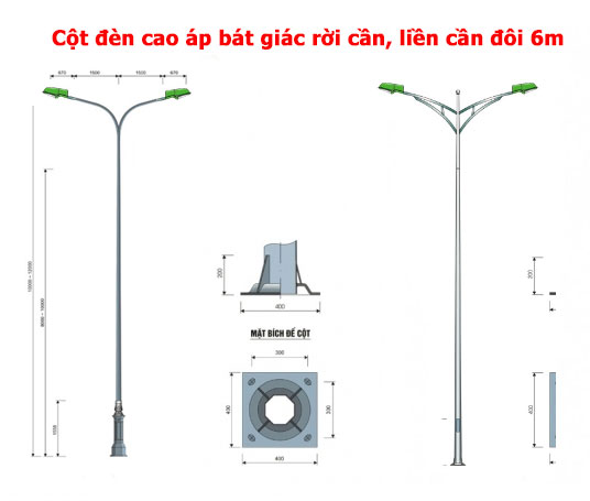 Cột đèn cao áp bát giác đôi 6m