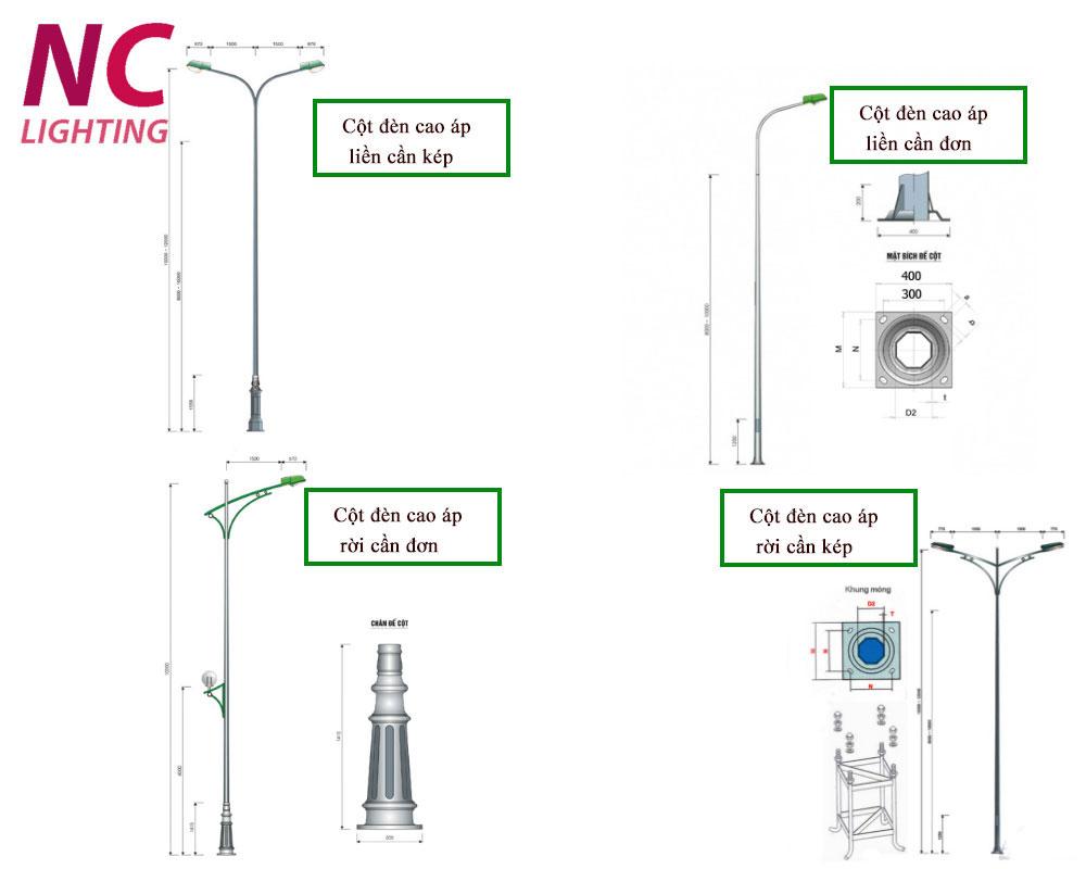 Các loại cột đèn cao áp