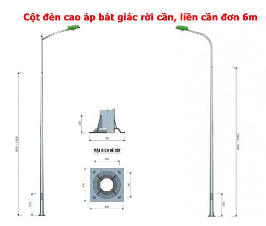 Cột đèn cao áp bát giác cân đơn 6m
