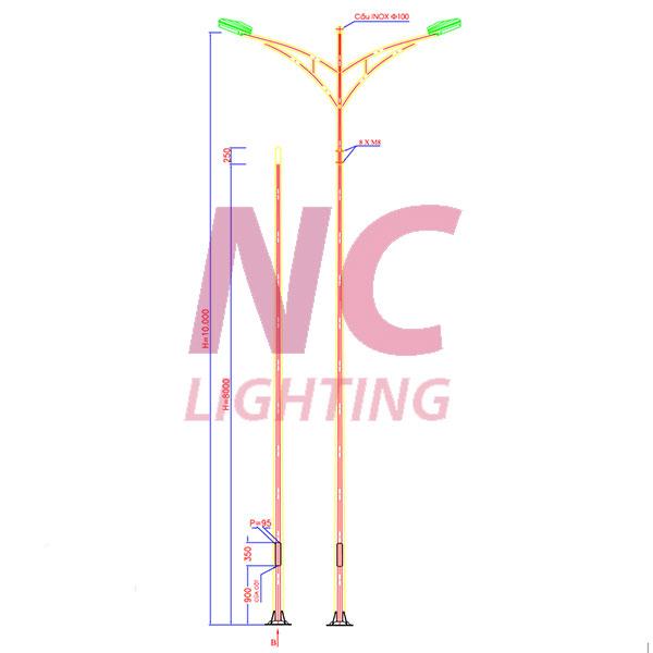 Bản vẽ chi tiết cột đèn cao áp 10m