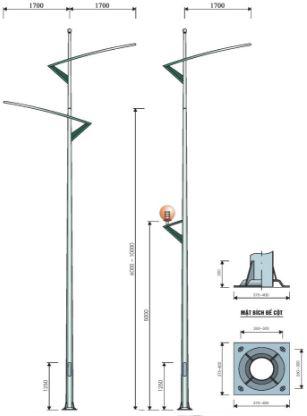 cột đèn cao áp chiếu sáng đường phố