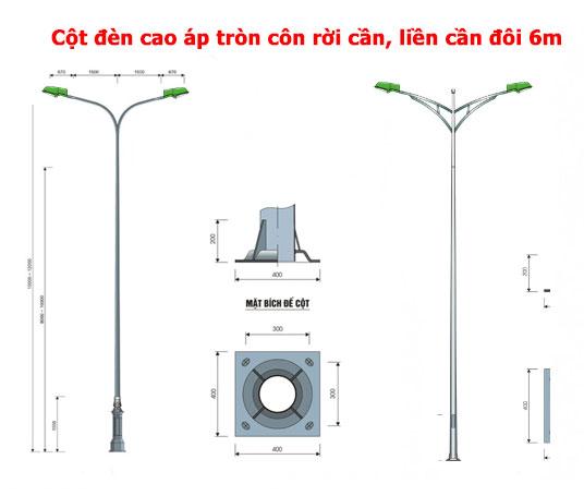 cột đèn cao áp tròn côn đôi 6m
