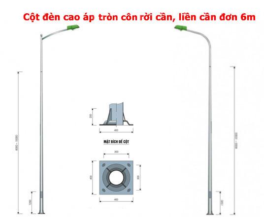 Cột đèn cao áp tròn côn đơn 6m