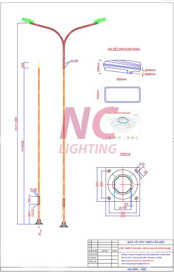 Cột đèn cao áp bát giác 11 m