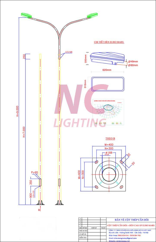 Cột thép chiếu sáng trụ đèn đường 9m
