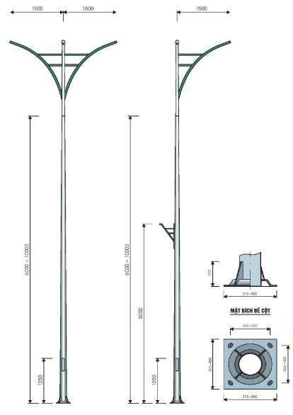 Trụ đèn cao áp bát giác tròn côn